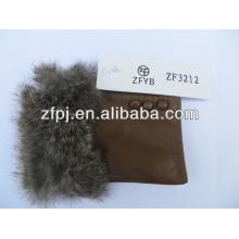 2016 Hot selling rabbit fur trim fingerless leather glove