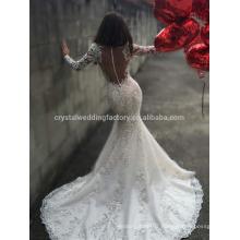 Vestido De Noiva Luxury Appliqued Lace Big Train Mermaid Lace Long Sleeve Bridal Weddding Dress 2017 MW991
