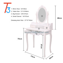 White Dressing Table Vanity Makeup Desk with 4 Drawers, Mirror Set and Stool