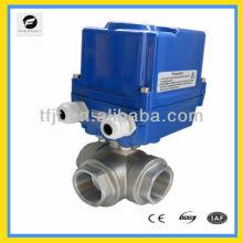 CTF-010 válvula de bola motorizada de acero inoxidable de 3 vías 304 DC40 DC24V, equipos de flujo de agua de autocontrol