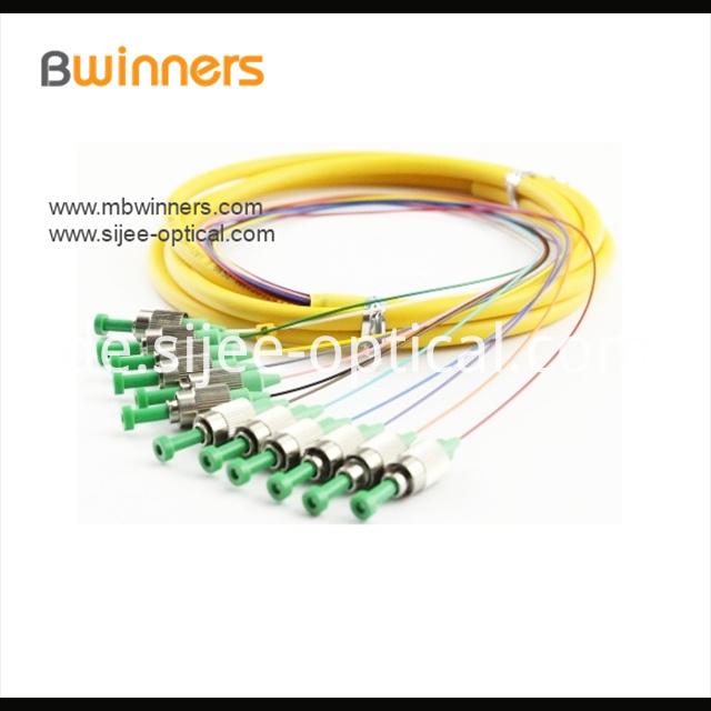 Single Mode 12 Core Fc Apc Ribbon Optic Cable Pigtail