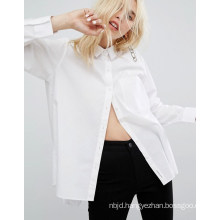 Ladies Solid Color Shirt with Long Sleeve Shirt