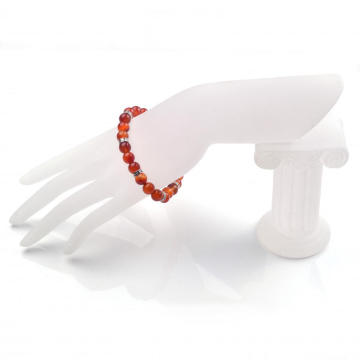 Natural Gemstone ​Carnelian 8MM 24 Round Beads Bracelet for Reiki Healing
