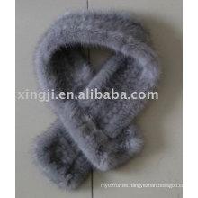 Bufanda hecha punto piel de visón color zafiro natural