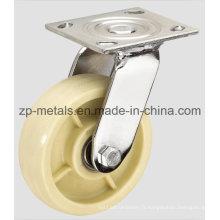 Roulette pivotante robuste en nylon blanc