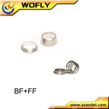Frente e parte traseira compressão do tubo de montagem virola de aço inoxidável