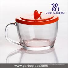 Tasse à thé en verre 400 ml avec couvercle PC