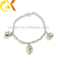 stainless steel jewelry bracelet with apple and leaf pendant for lovely girl