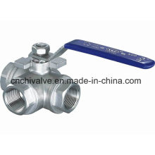 Válvula de esfera de três vias de aço inoxidável tipo Q15f T