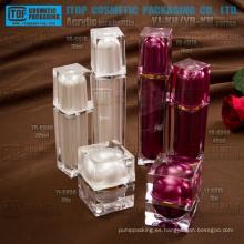 Doble de lujo de alta calidad diseño único y hermoso capas de acrílico cuadrado tarro y botella envase envases cosméticos cajas