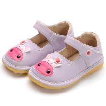 Lila Niedliche Baby-Kuh-quietschende Schuhe handgemachtes weiches