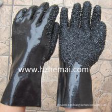 Rough Finish Gauntlet Heavy Rubber Black PVC Work Glove