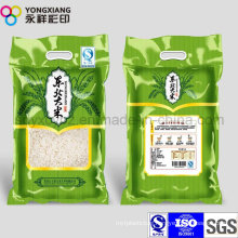 Laminated PA Plastic Packaging Rice Bag with Handle Hole