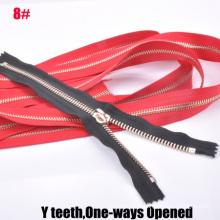 8 # One Way Open-End Latão de Ouro Y Dentes Zipper