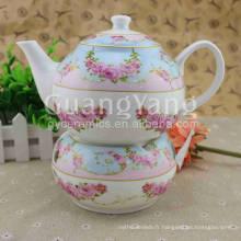 Ensemble de thé en pierre de poterie de conception délicate d'art de conception