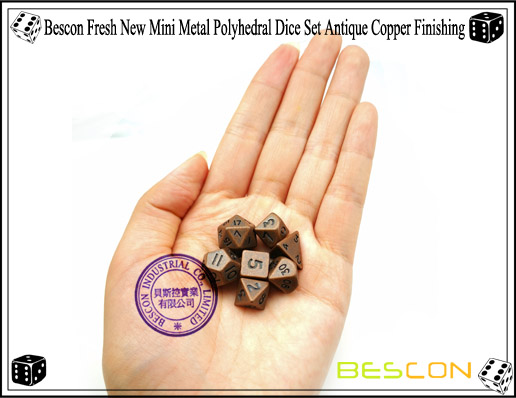 Bescon Fresh New Mini Metal Polyhedral Dice Set Antique Copper Finishing-7