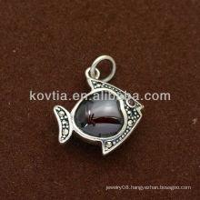 Girls cute fish shape ruby 925 sterling silver pendant