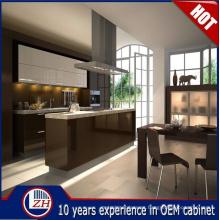 Diseños de gabinetes de cocina de MDF impermeable brillante con accesorios de cesta