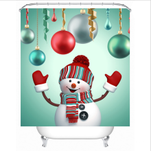 Christmas Style Polyester red green Bathroom Shower Curtain