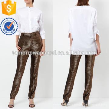 Chemise à col rond en popeline de coton blanc Fabrication en gros de vêtements pour femmes (TA4002T)
