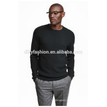 Мода мужская жаккардовый свитер твердых свитер пуловер черный толстовка