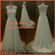 2015 último diseño de calidad superior de encaje francés Appliquend Wedding Dresses BYB-L1019