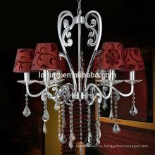 Decoración del hogar Metal Art Lighting Lámpara de araña de hierro fundido Tela
