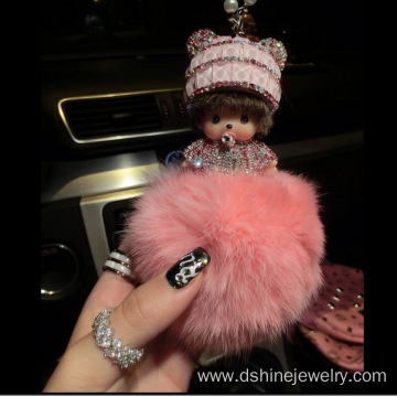 Diamond Monchichi Rabbit Fur Pom Pom Keychain For Key Bag