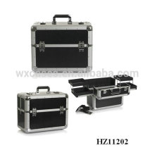 professional black makeup cases with trays inside from China manufacturer