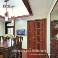 Panneau en bois Design Porte d'entrée principale Porte extérieure en Chine Nouveau style