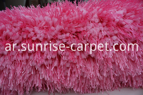 Thick Soft Elastic & Silk Mix Yarn Carpet Rug Pink