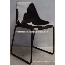 Silla de cuero industrial de pelo en los asientos de cuero único
