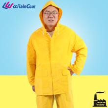 peças de cor amarela 2 Rainsuit poliéster PVC podem adicionar faixa reflexiva