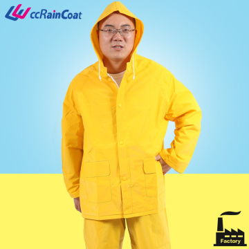 pvc polyester Rainsuit yellow color 2 pieces can add reflective strip