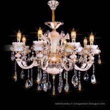 Italien en alliage de zinc pendentif hôtel éclairage décoration bougie cristal lustre 88637