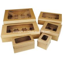Sacar la caja de la magdalena del papel / la caja de la magdalena del papel de la cartulina de Kraft con la ventana de la inserción y del claro