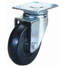 Roulette en caoutchouc pivotant à usage moyen (noir)