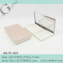 Charmante & elegante rechteckige kompakte Pulver Fall mit Spiegel AG-PL-619, AGPM Kosmetikverpackungen, benutzerdefinierte Farben/Logo