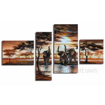 Arte africano moderno de la lona del elefante de la pintura al óleo del paisaje (AR-029)