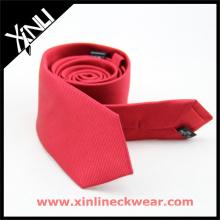 Laço de casamento de homens de gravata de seda atacado vermelho jacquard preto