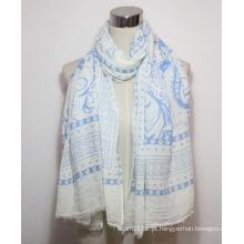 Mulher moda paisley impresso algodão poliéster voile cachecol (yky1087)