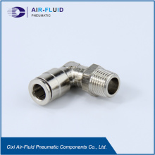 Air-Fluid Nickel Plated Brass Push-to-Connect Swivel Elbow.