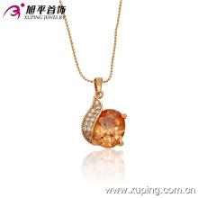 32166 Wholesale luxury women jewelry simply design circle shaped gemstone pendant
