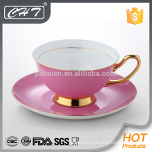 Pink bone china coffee cup & saucer set with decal beauty set