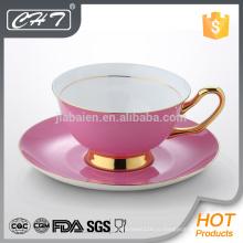 Набор из розового костяного фарфора с блюдцем и декольте