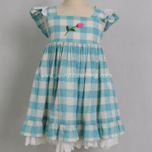 Boutique Girls Cotton Linen Checked Skirt Girl Dress