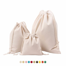 Custom Printed Logo Canvas cotton muslin String Drawstring pouch Shoe Dust Drawstring Bag