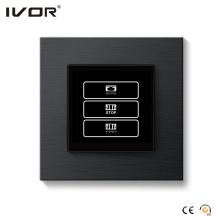1 Gang Cortina Interruptor Aleación de aluminio Esquema Marco Negro Color (HR1000-AL-CT (AC1) -B)
