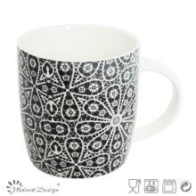 Tasse en céramique de 12 onces avec décalcomanie de fleurs noires