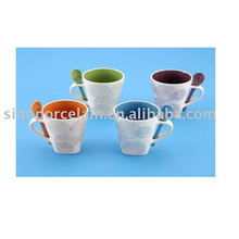 10oz color glazed square mug with spoon for BS09082